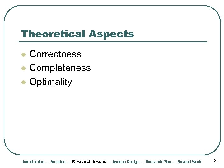 Theoretical Aspects l l l Correctness Completeness Optimality Introduction – Solution – Research Issues