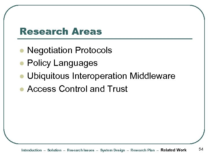 Research Areas l l Negotiation Protocols Policy Languages Ubiquitous Interoperation Middleware Access Control and
