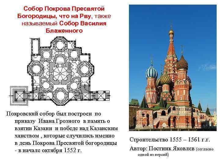 Собор Покрова Пресвятой Богородицы, что на Рву, также называемый Собор Василия Блаженного Покровский собор