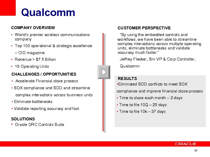 "Qualcomm COMPANY OVERVIEW CUSTOMER PERSPECTIVE • World's premier wireless communications ""By using the embedded"
