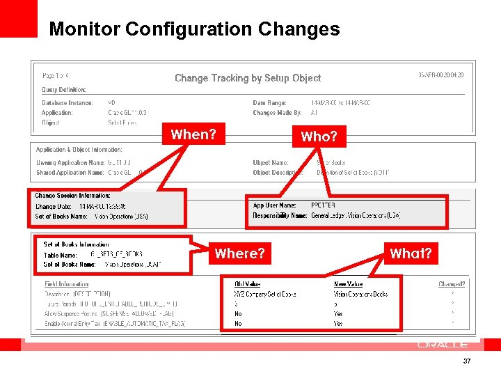 Monitor Configuration Changes When? Where? Who? What? 37