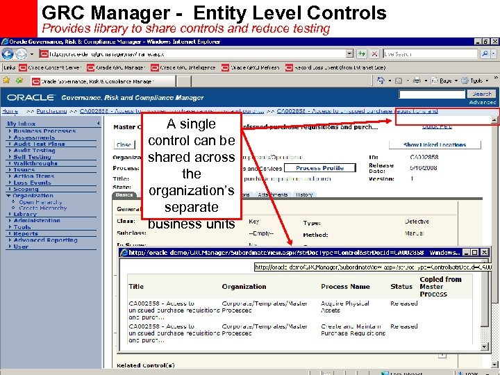 GRC Manager - Entity Level Controls Provides library to share controls and reduce testing