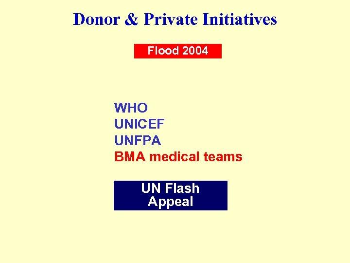 Donor & Private Initiatives Flood 2004 WHO UNICEF UNFPA BMA medical teams UN Flash