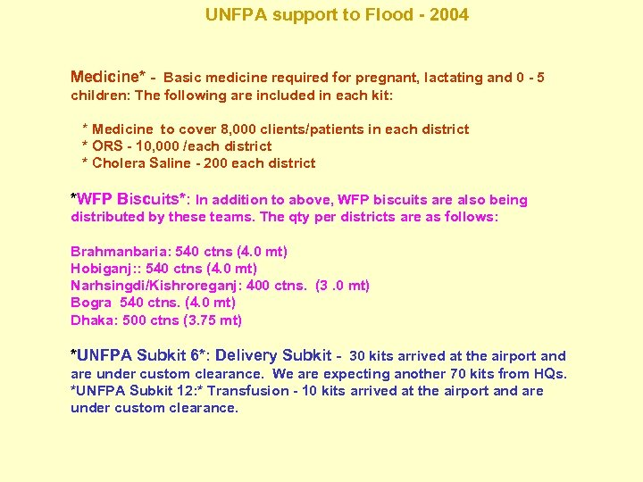 UNFPA support to Flood - 2004 Medicine* - Basic medicine required for pregnant, lactating