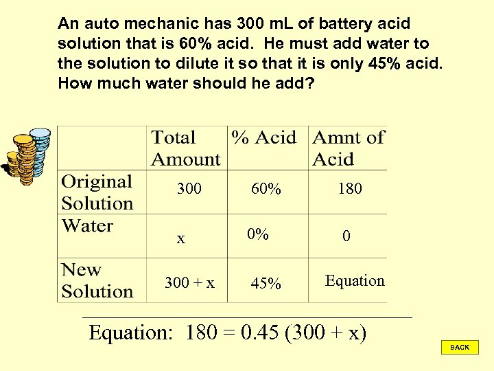 An auto mechanic has 300 m. L of battery acid solution that is 60%