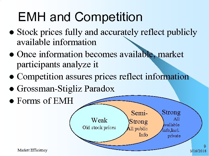 EMH and Competition Stock prices fully and accurately reflect publicly available information l Once