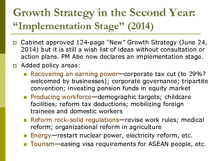 """Growth Strategy in the Second Year: """"Implementation Stage"""" (2014) p p Cabinet approved 124"""