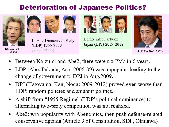 Deterioration of Japanese Politics? Koizumi 2001 -2006 Liberal Democratic Party (LDP) 1955 -2009 (except