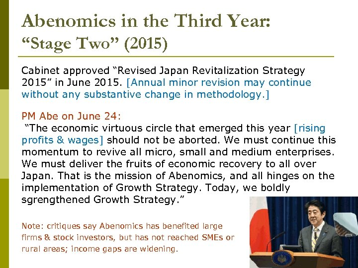"""Abenomics in the Third Year: """"Stage Two"""" (2015) Cabinet approved """"Revised Japan Revitalization Strategy"""