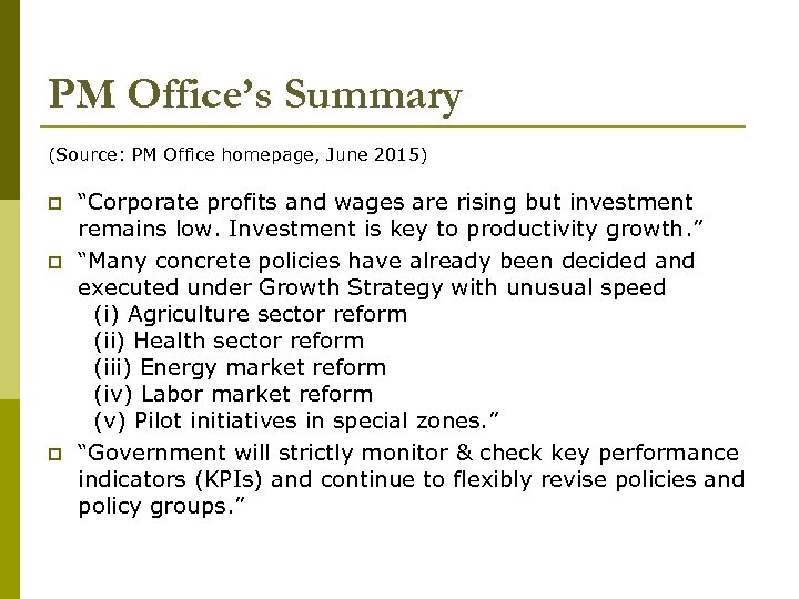 """PM Office's Summary (Source: PM Office homepage, June 2015) p p p """"Corporate profits"""