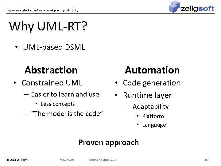 Improving embedded software development productivity Why UML-RT? • UML-based DSML Abstraction Automation • Constrained