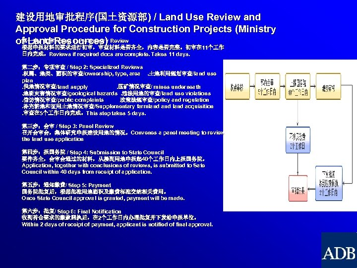 建设用地审批程序(国土资源部) / Land Use Review and Approval Procedure for Construction Projects (Ministry 第一步:初审 /