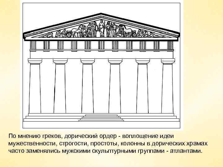 По мнению греков, дорический ордер - воплощение идеи мужественности, строгости, простоты, колонны в дорических