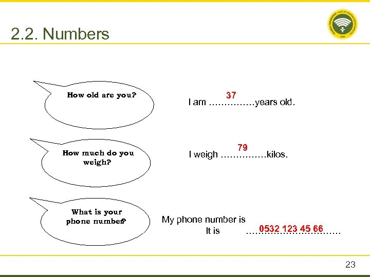 2. 2. Numbers How old are you? How much do you weigh? What is