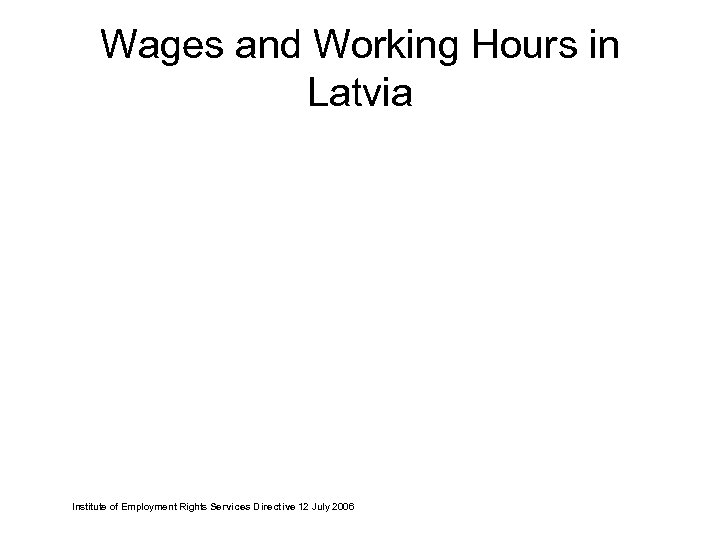 Wages and Working Hours in Latvia Institute of Employment Rights Services Directive 12 July