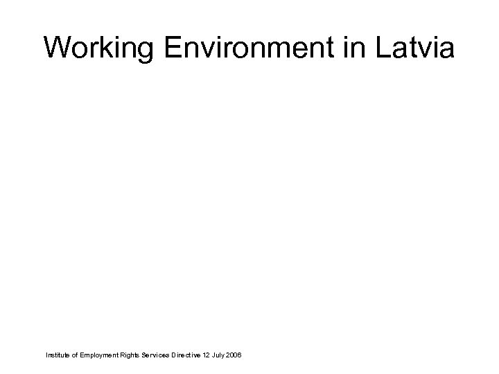 Working Environment in Latvia Institute of Employment Rights Services Directive 12 July 2006
