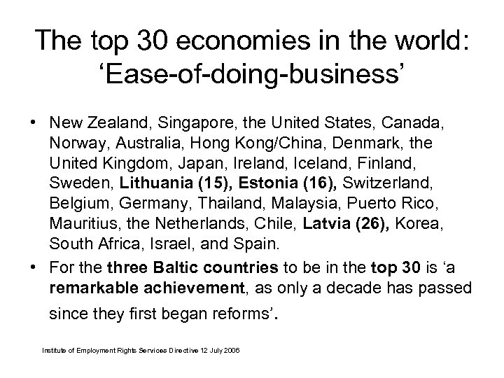 The top 30 economies in the world: 'Ease-of-doing-business' • New Zealand, Singapore, the United