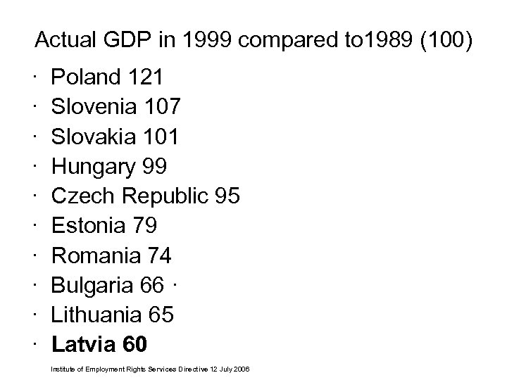 Actual GDP in 1999 compared to 1989 (100) · Poland 121 · Slovenia 107