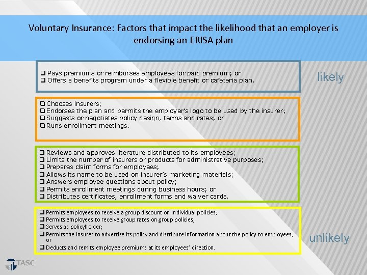 Voluntary Insurance: Factors that impact the likelihood that an employer is endorsing an ERISA