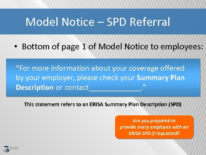 Model Notice – SPD Referral • Bottom of page 1 of Model Notice to