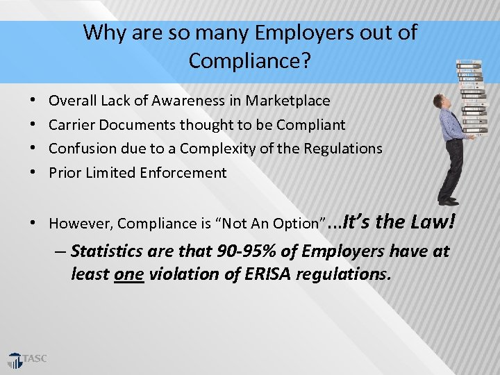 Why are so many Employers out of Compliance? • • Overall Lack of Awareness
