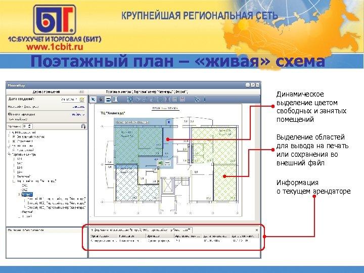 Поэтажный план – «живая» схема Динамическое выделение цветом свободных и занятых помещений Выделение областей