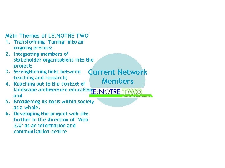 Main Themes of LE: NOTRE TWO 1. Transforming 'Tuning' into an ongoing process; 2.