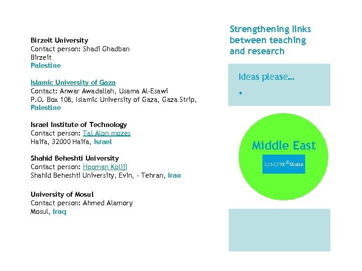 Birzeit University Contact person: Shadi Ghadban Birzeit Palestine Islamic University of Gaza Contact: Anwar