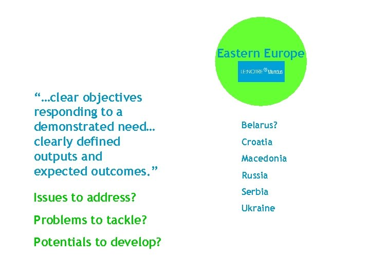"""Eastern Europe """"…clear objectives responding to a demonstrated need… clearly defined outputs and expected"""