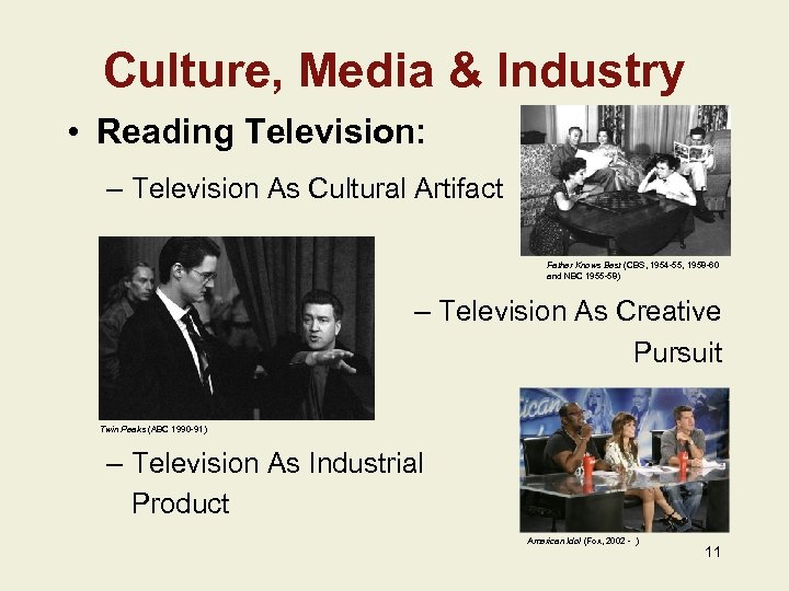 Culture, Media & Industry • Reading Television: – Television As Cultural Artifact Father Knows