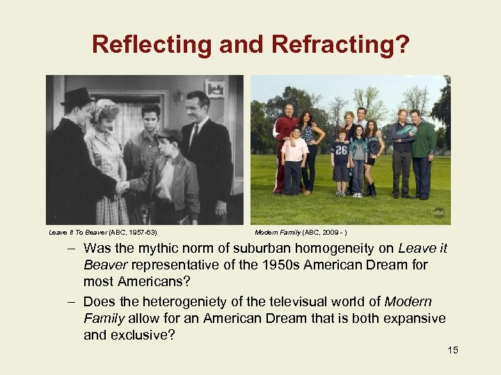 Reflecting and Refracting? Leave It To Beaver (ABC, 1957 -63) Modern Family (ABC, 2009