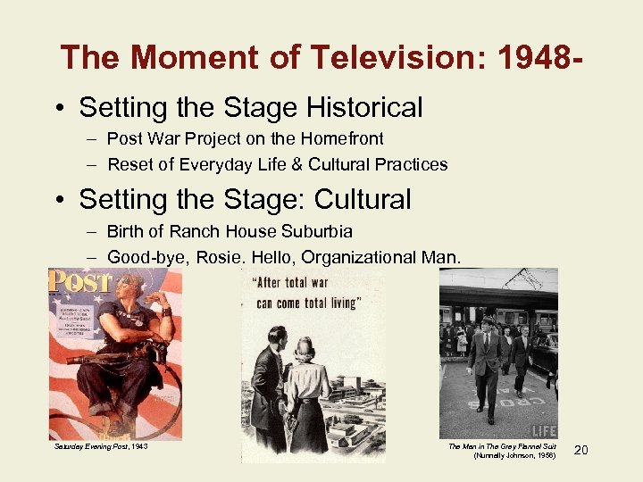 The Moment of Television: 1948 • Setting the Stage Historical – Post War Project