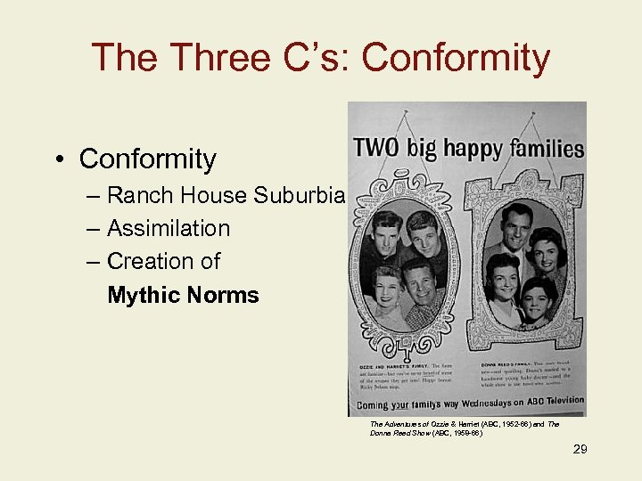 The Three C's: Conformity • Conformity – Ranch House Suburbia – Assimilation – Creation
