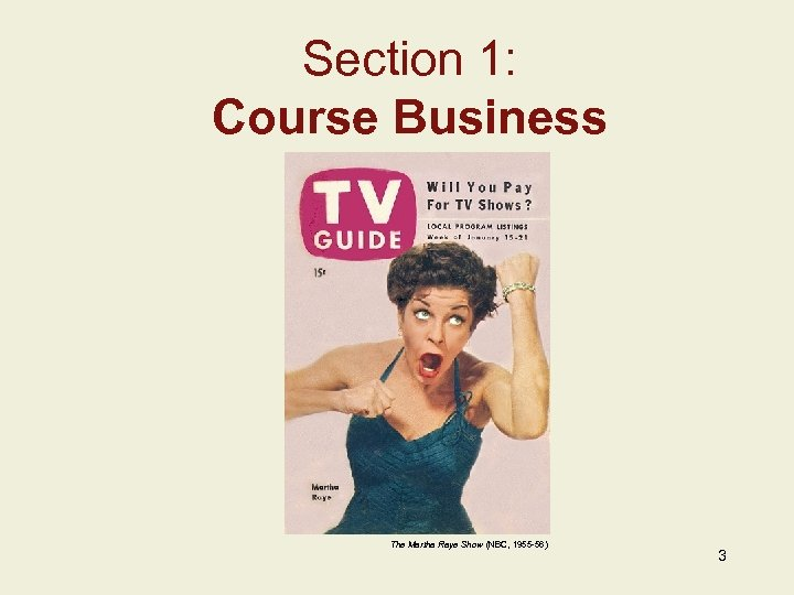Section 1: Course Business Insert Image Here Add Image Caption w/ Credits Here The