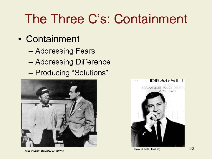 The Three C's: Containment • Containment – Addressing Fears – Addressing Difference – Producing