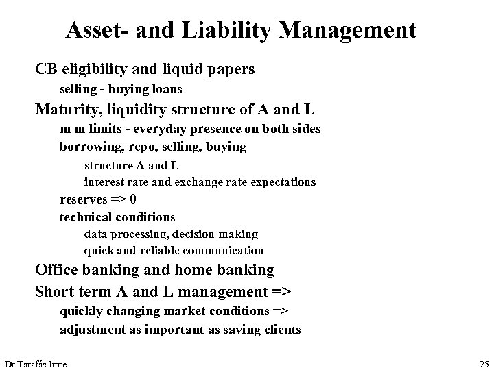 Asset- and Liability Management CB eligibility and liquid papers selling - buying loans Maturity,