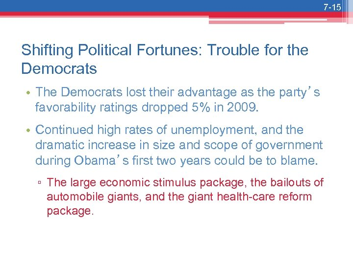 7 -15 Shifting Political Fortunes: Trouble for the Democrats • The Democrats lost their