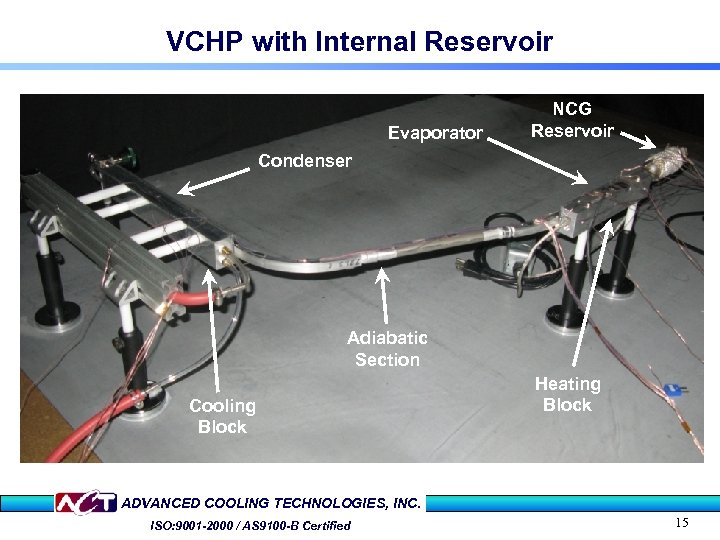 VCHP with Internal Reservoir Evaporator NCG Reservoir Condenser Adiabatic Section Cooling Block Heating Block
