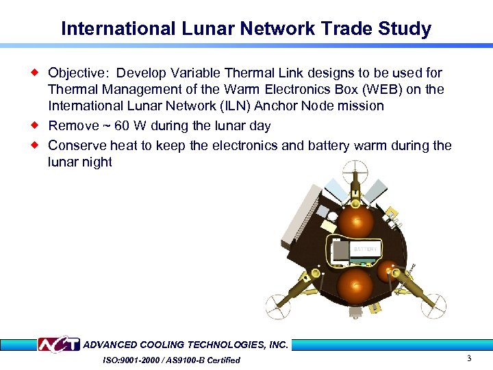 International Lunar Network Trade Study ® Objective: Develop Variable Thermal Link designs to be