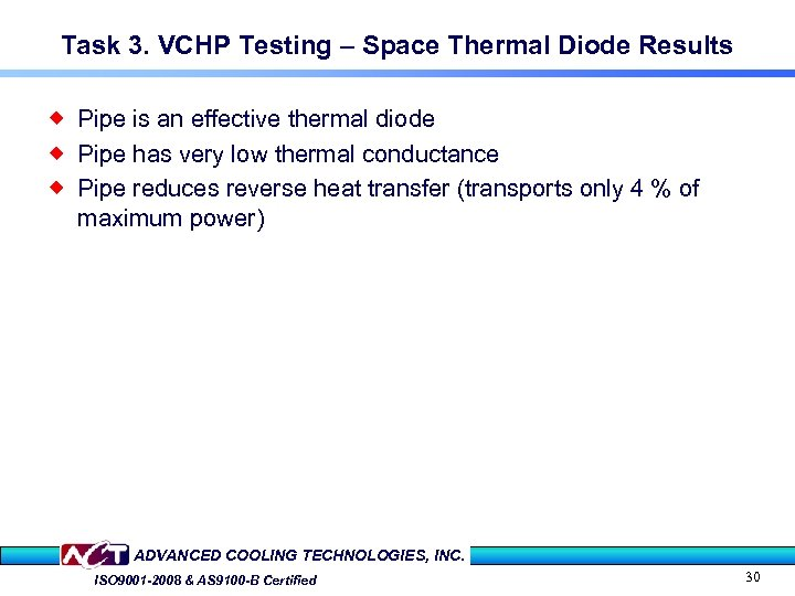 Task 3. VCHP Testing – Space Thermal Diode Results ® Pipe is an effective