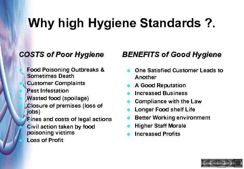 Why high Hygiene Standards ? . COSTS of Poor Hygiene u u u u