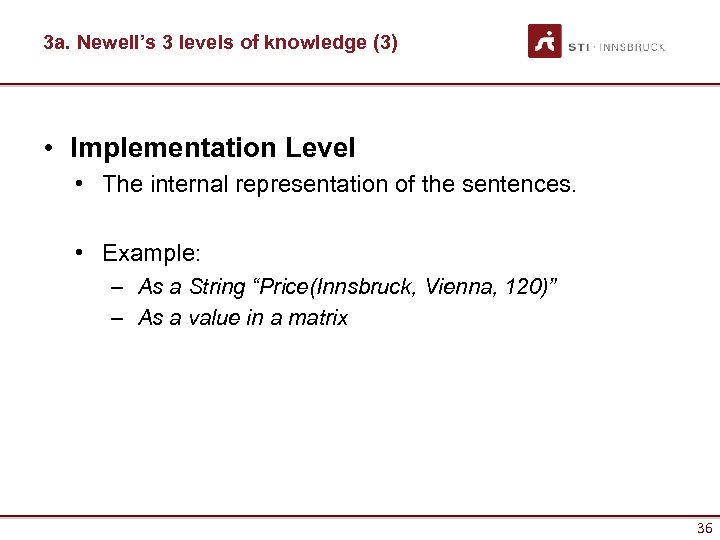 3 a. Newell's 3 levels of knowledge (3) • Implementation Level • The internal