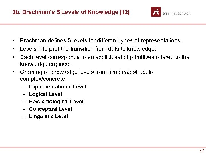 3 b. Brachman's 5 Levels of Knowledge [12] • Brachman defines 5 levels for
