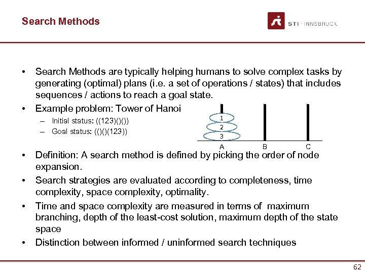 Search Methods • • Search Methods are typically helping humans to solve complex tasks