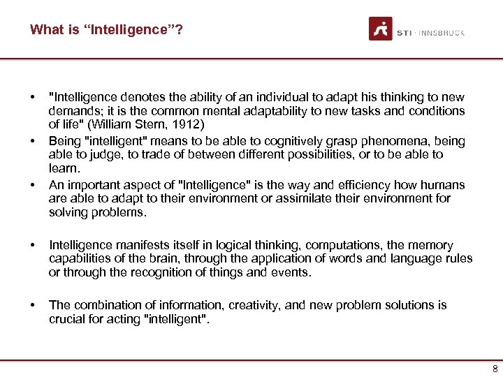 "What is ""Intelligence""? • • •"