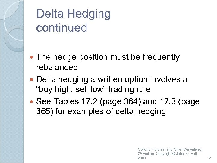 Delta Hedging continued The hedge position must be frequently rebalanced Delta hedging a written