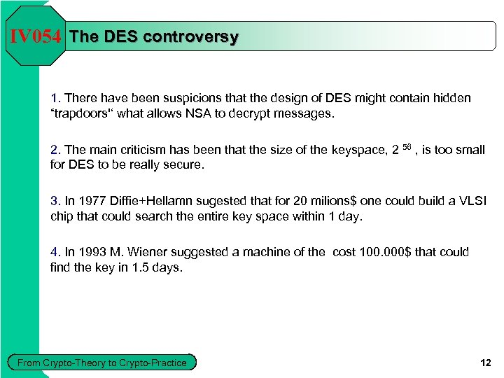 IV 054 The DES controversy 1. There have been suspicions that the design of