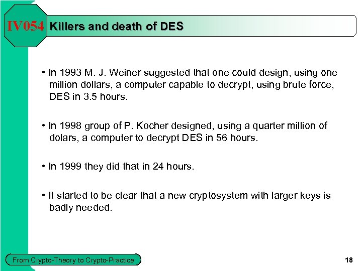 IV 054 Killers and death of DES • In 1993 M. J. Weiner suggested