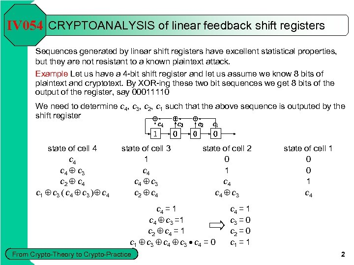 IV 054 CRYPTOANALYSIS of linear feedback shift registers Sequences generated by linear shift registers