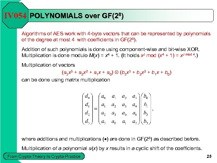 IV 054 POLYNOMIALS over GF(28) Algorithms of AES work with 4 -byte vectors that